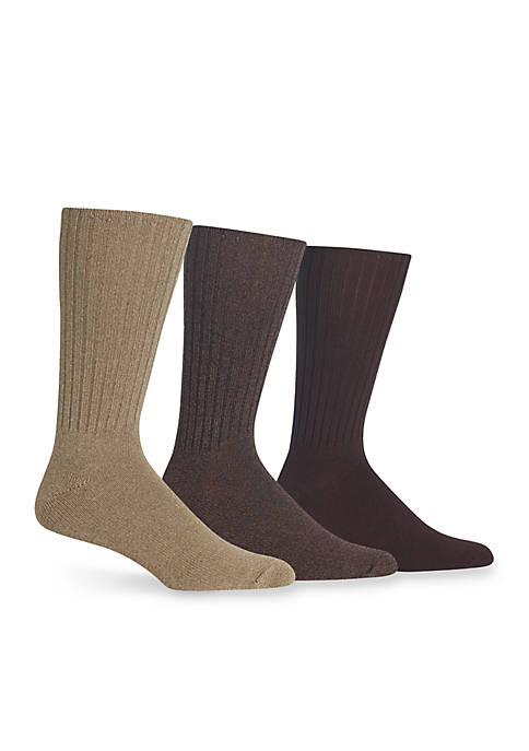 Casual Ribbed Crew Socks - 3 Pack