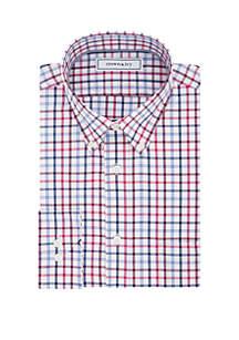 Slim Check Print Long Sleeve Dress Shirt