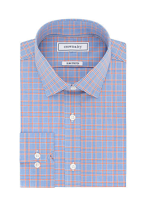 Crown & Ivy™ Slim Fit Stretch Plaid Button