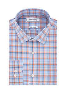 Slim Stretch Plaid Button Down Shirt
