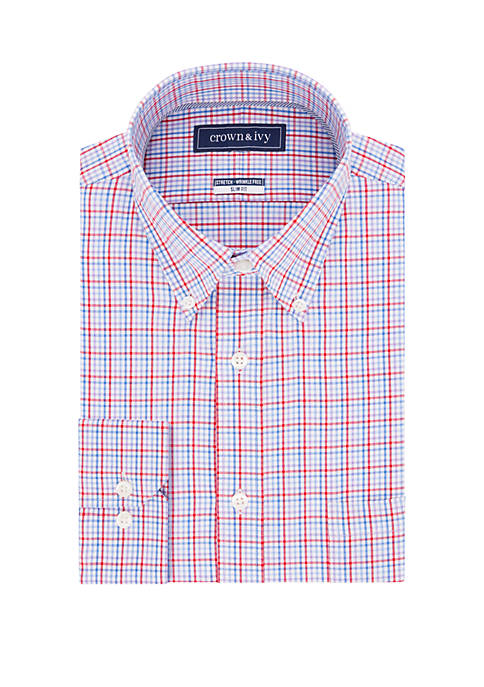 Crown & Ivy™ Slim Fit Stretch Check Shirt