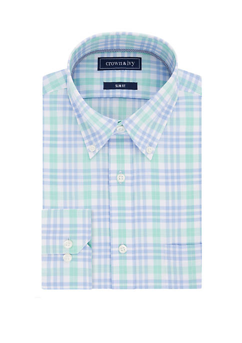 Crown & Ivy™ Slim Fit Plaid Dress Shirt