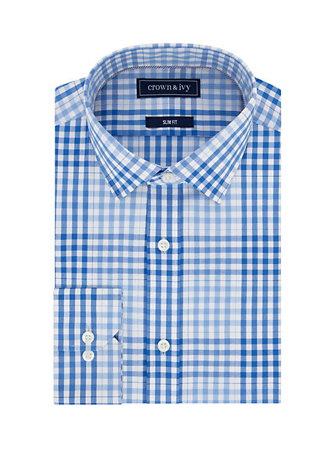 Crown & Ivy™ Slim Stretch Multi Blue Check