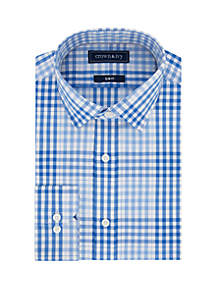 Crown & Ivy™ Slim Stretch Multi Blue Check Dress Shirt