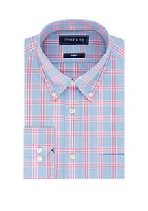 Crown & Ivy™ Slim Stretch Blue Check Dress Shirt