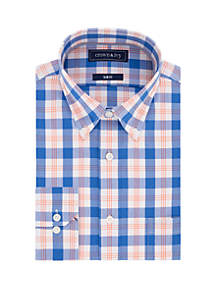 Crown & Ivy™ Slim Stretch Blue Plaid Dress Shirt
