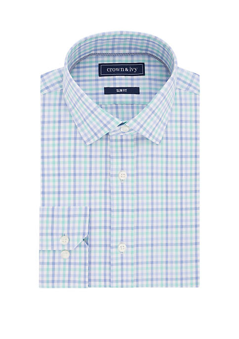 Crown & Ivy™ Slim Stretch Blue Green Check