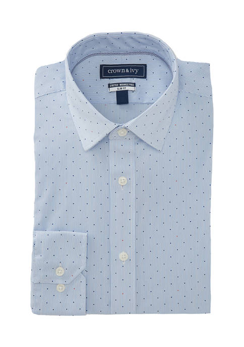 Crown & Ivy™ Slim Fit Stretch Stripe Shirt