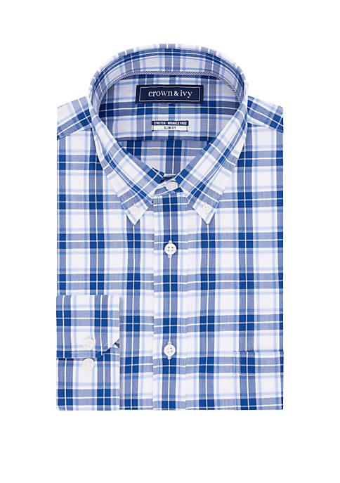 Slim Fit Stretch Plaid Long Sleeve Shirt