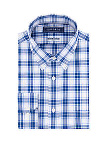 Crown & Ivy™ Slim Fit Stretch Plaid Long Sleeve Shirt