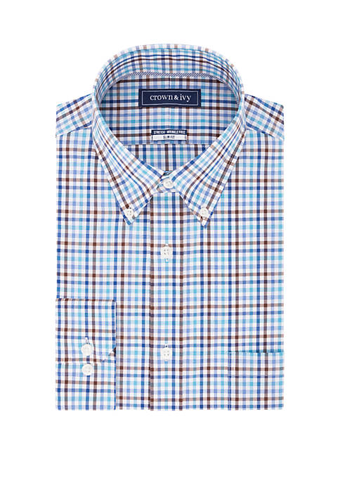 Crown & Ivy™ Slim Stretch Check Button Down