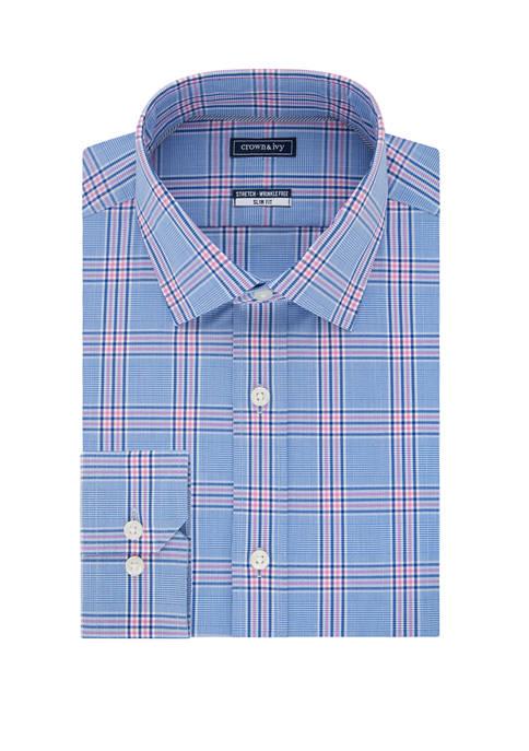 Crown & Ivy™ Slim Stretch Glen Plaid Shirt