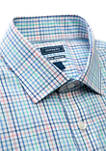 Mens Long Sleeve Slim Fit Motion Flex Check Button Down Shirt