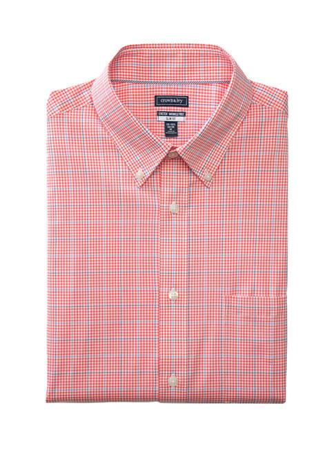 Long Sleeve Slim Fit Motion Flex Check Button Down Shirt