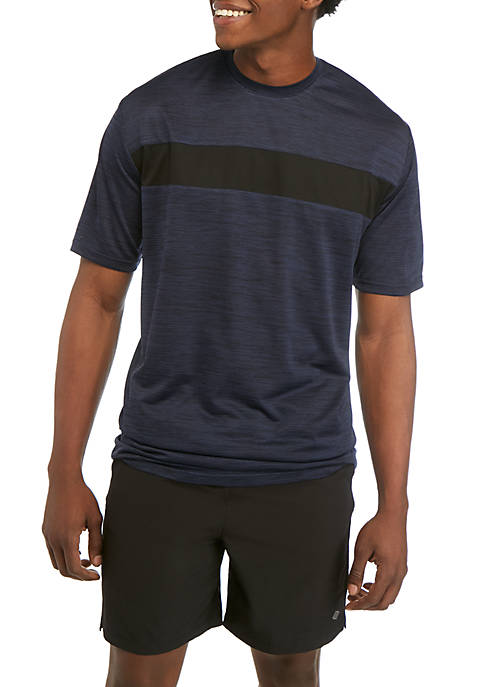 Big & Tall Short Sleeve Space Dye Chest Color Block T Shirt