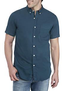 Short Sleeve Woven Button-Down Shirt