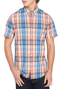 Short Sleeve Plaid Woven Shirt