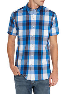 Short Sleeve Woven Plaid Shirt