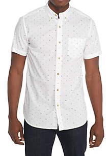 Short Sleeve Distressed Dot Print Shirt