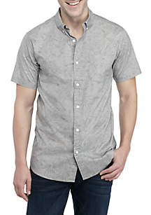 Short Sleeve Floral Line Woven Shirt