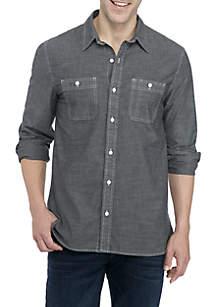 Long Sleeve Chambray Woven Shirt