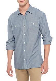 Long Sleeve Indigo Woven Shirt