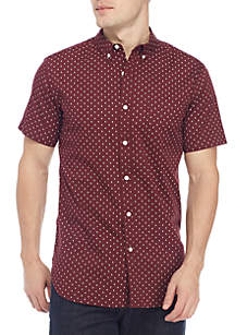 Short Sleeve Woven Geo Flower Button Down