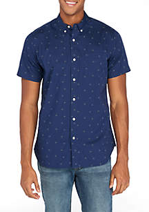 Short Sleeve Woven Crosses Shirt