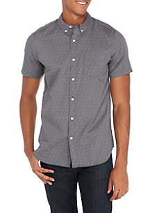 Short Sleeve Woven Geo Dot Shirt