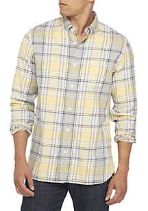 Long Sleeve Plaid Twill Woven Button Down