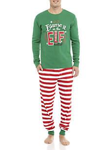 2-Piece Men's Blame It On The Elf Pajama Set