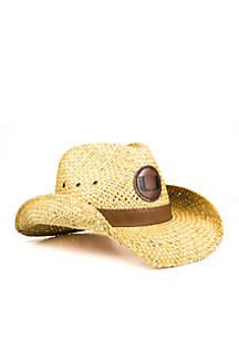 The Miami Hurricanes Leather Strawboy Hat