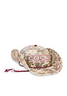 South Carolina Gamecocks Camo Mesh Bucker Hat (Lightweight Outdoor Wide Brim Cowboy / Bucket / Trucker Sun Cap) - Snapback