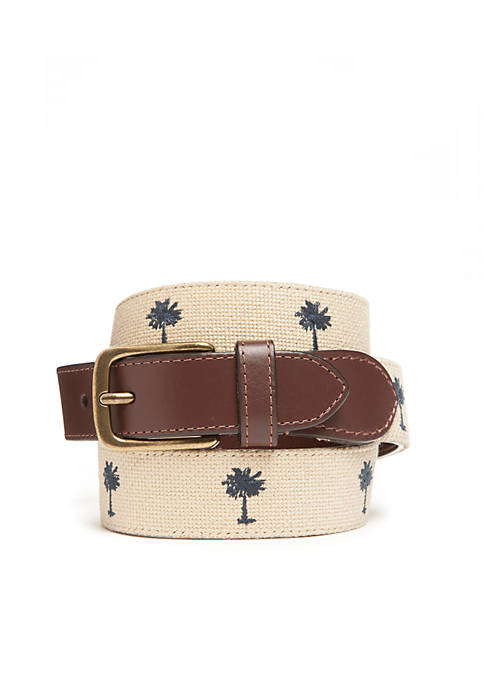 Crown & Ivy™ Tapered Needlepoint Palm Tree Belt
