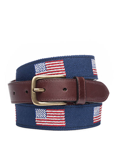 Crown & Ivy™ Tapered Needlepoint Flag Belt