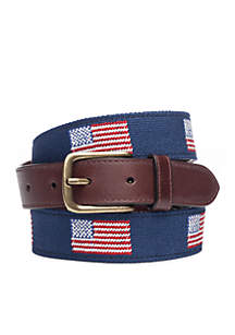 Tapered Needlepoint Flag Belt