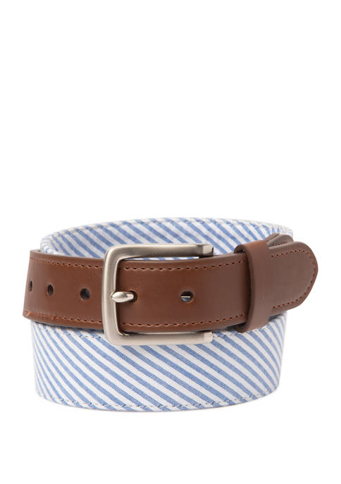 Mens 32 Millimeter Seersucker Belt
