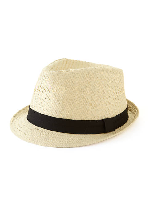 Crown & Ivy™ Straw with Black Band Fedora