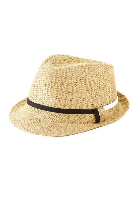 Straw Fedora with Self Band and Tipping