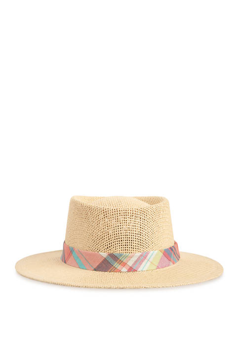 Crown & Ivy™ Straw Fedora with Madras Band