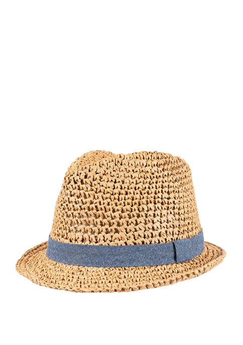 Packable Wide Weave Fedora with Chambray Band