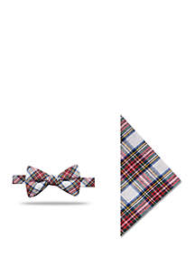 Cady Tartan Bow Tie and Pocket Square Set