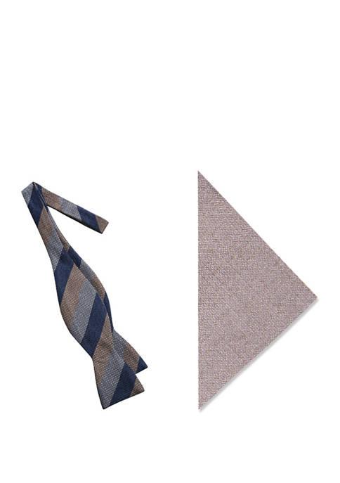 Dawson Stripe Bow Tie and Pocket Square Set