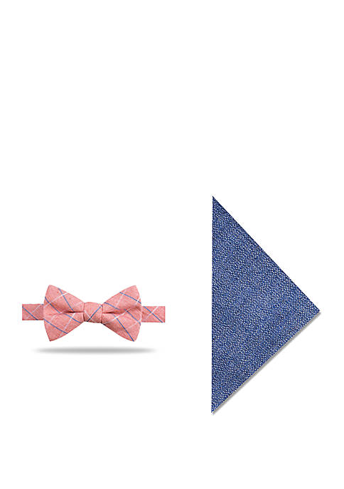 Crown & Ivy™ Calgary Grid Bow Tie Pocket