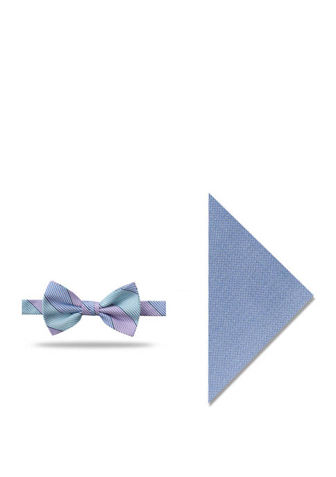 Chris Stripe Bow Tie and Pocket Square