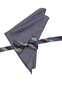 Birch Stripe Bow Tie Pocket Square Set