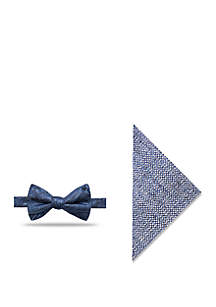 Canyon Paisley Print Bow Tie and Pocket Square Set