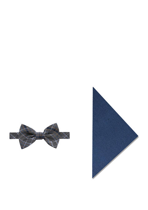 Montana Plaid Bow Tie and Pocket Square Set