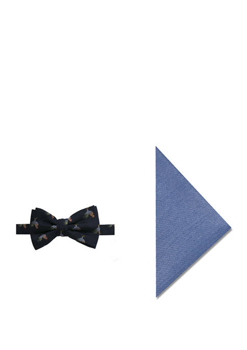 Mens Seasonal Rooster Bow Tie and Pocket Square Set