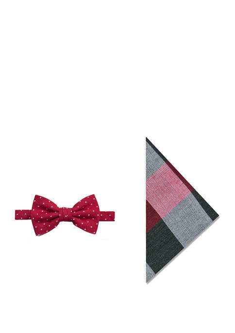 Holiday Dot Bow Tie and Pocket Square Set